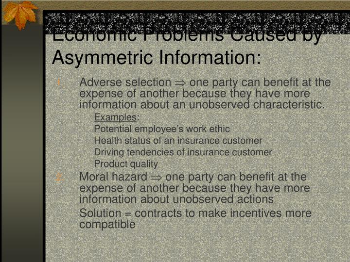 Economic Problems Caused by Asymmetric Information: