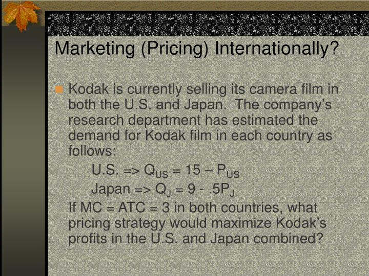 Marketing (Pricing) Internationally?