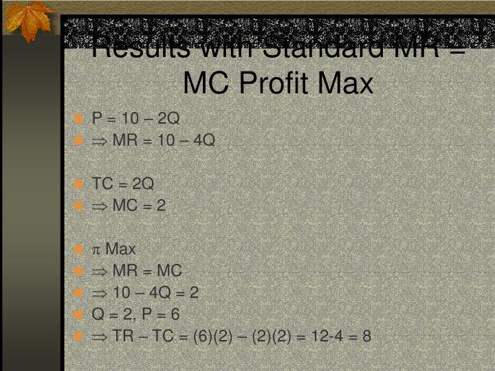 Results with Standard MR = MC Profit Max