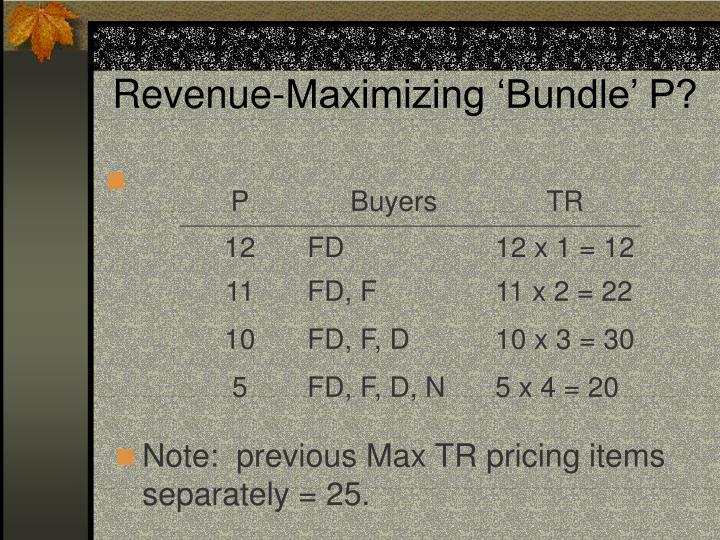 Revenue-Maximizing 'Bundle' P?