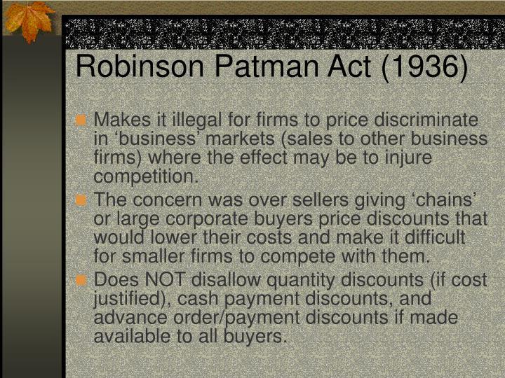 Robinson Patman Act (1936)