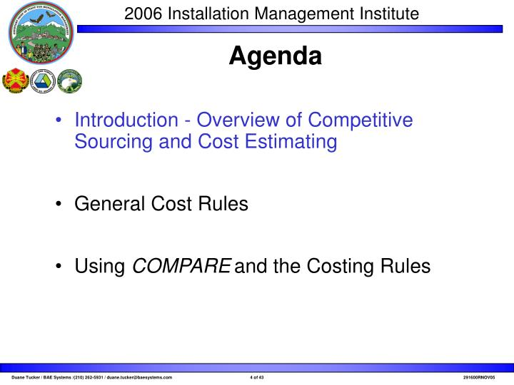 Introduction - Overview of Competitive Sourcing and Cost Estimating