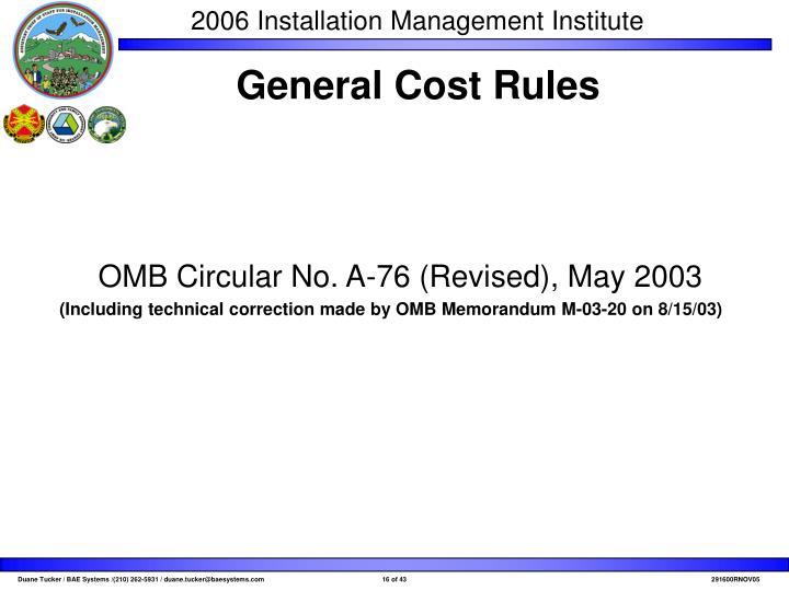 OMB Circular No. A-76 (Revised), May 2003