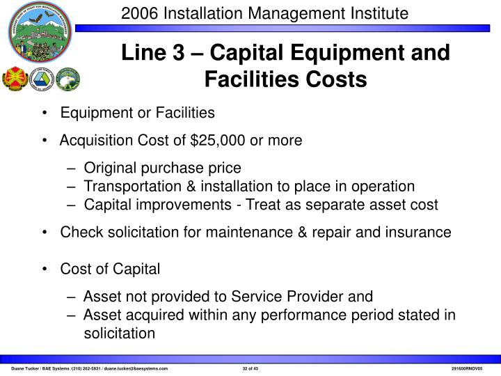 Line 3 – Capital Equipment and Facilities Costs