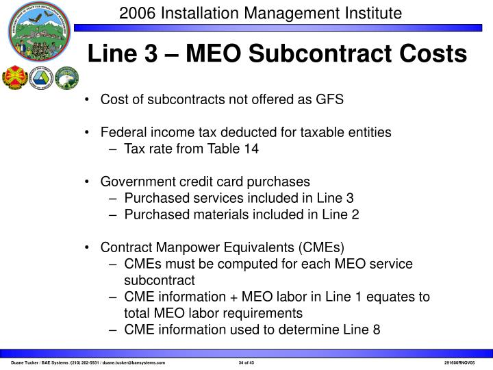 Line 3 – MEO Subcontract Costs