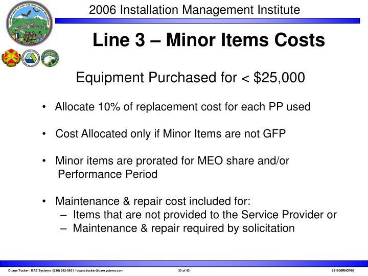 Line 3 – Minor Items Costs