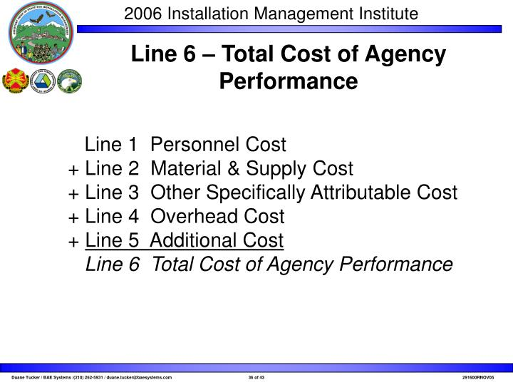Line 6 – Total Cost of Agency Performance