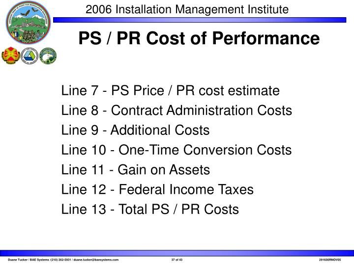 PS / PR Cost of Performance