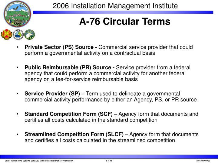 A-76 Circular Terms