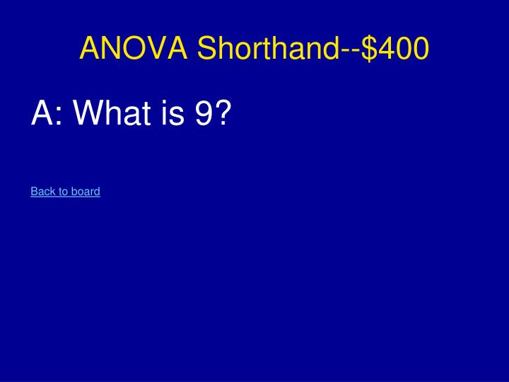ANOVA Shorthand--$400