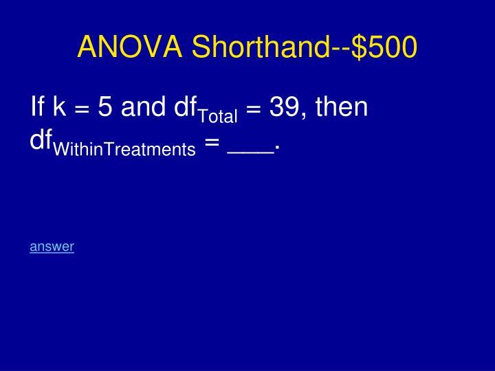 ANOVA Shorthand--$500
