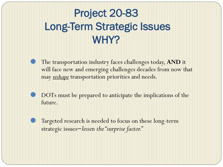 Project 20 83 long term strategic issues why