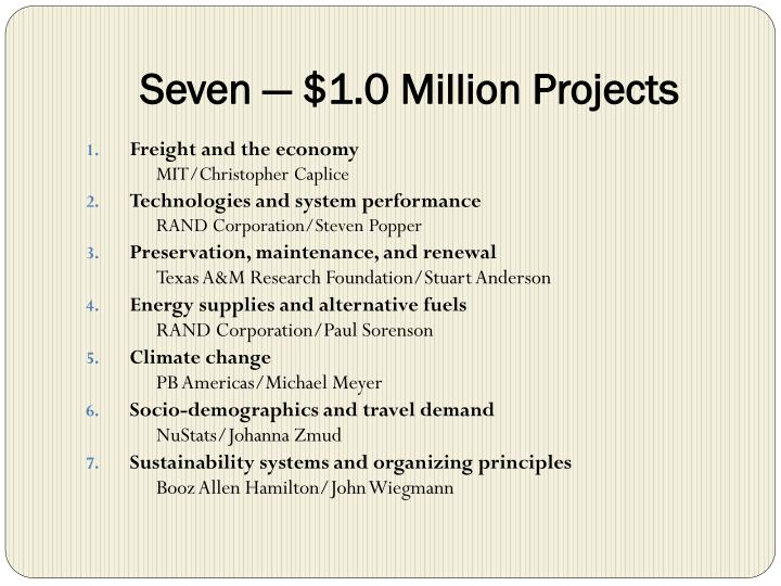 Seven 1 0 million projects