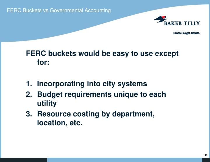 FERC Buckets vs Governmental Accounting
