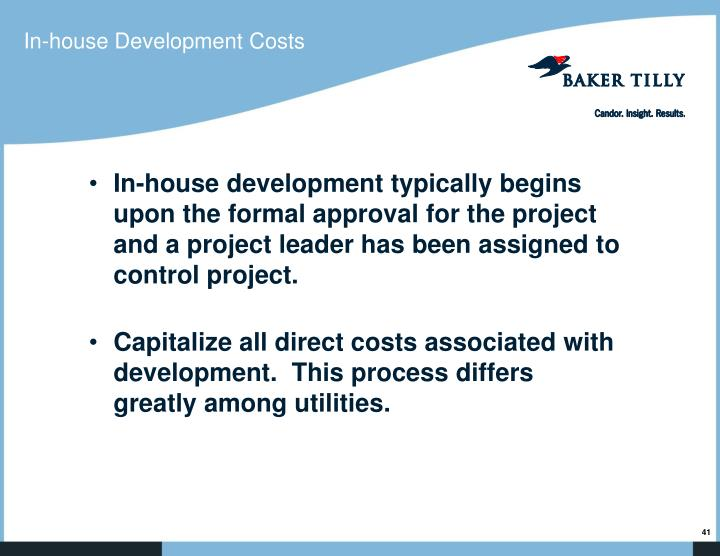 In-house Development Costs