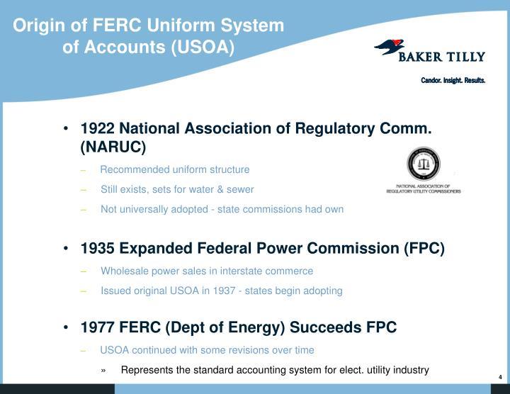 Origin of FERC Uniform System of Accounts (USOA)