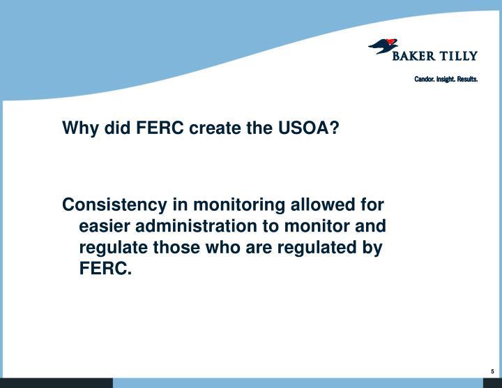 Why did FERC create the USOA?