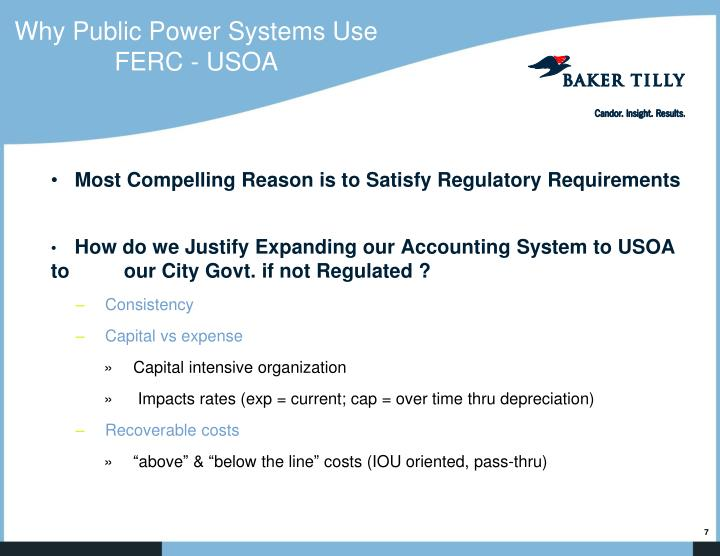 Why Public Power Systems Use FERC - USOA