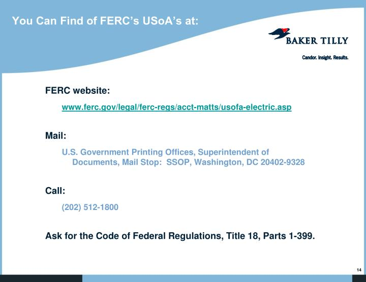 You Can Find of FERC's USoA's at: