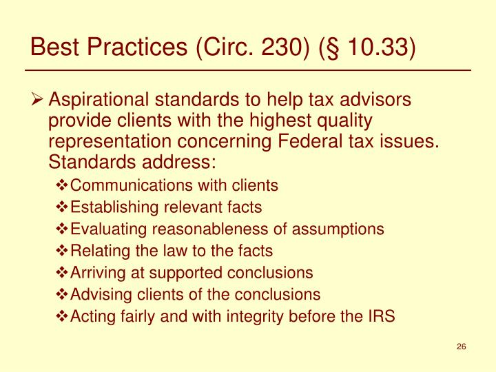 Best Practices (Circ. 230) (§ 10.33)