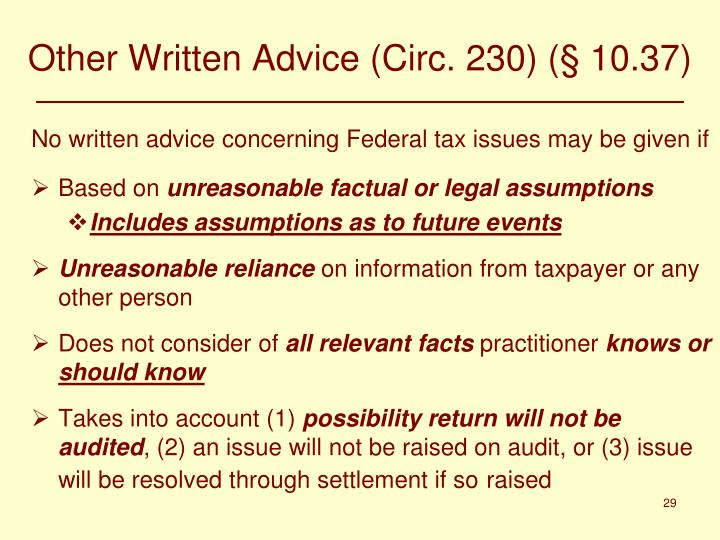 Other Written Advice (Circ. 230) (§ 10.37)