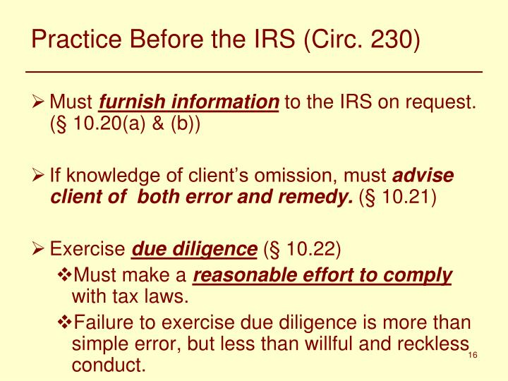 Practice Before the IRS (Circ. 230)