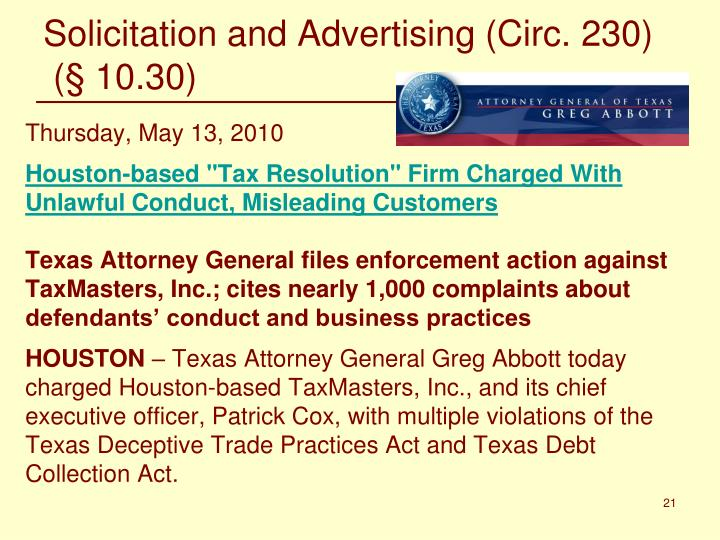 Solicitation and Advertising (Circ. 230)