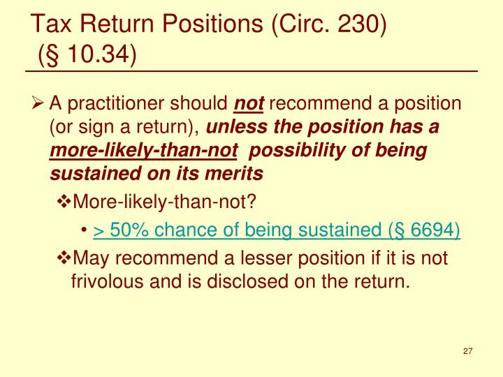Tax Return Positions (Circ. 230)
