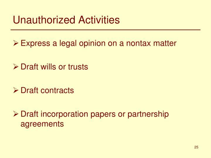 Unauthorized Activities
