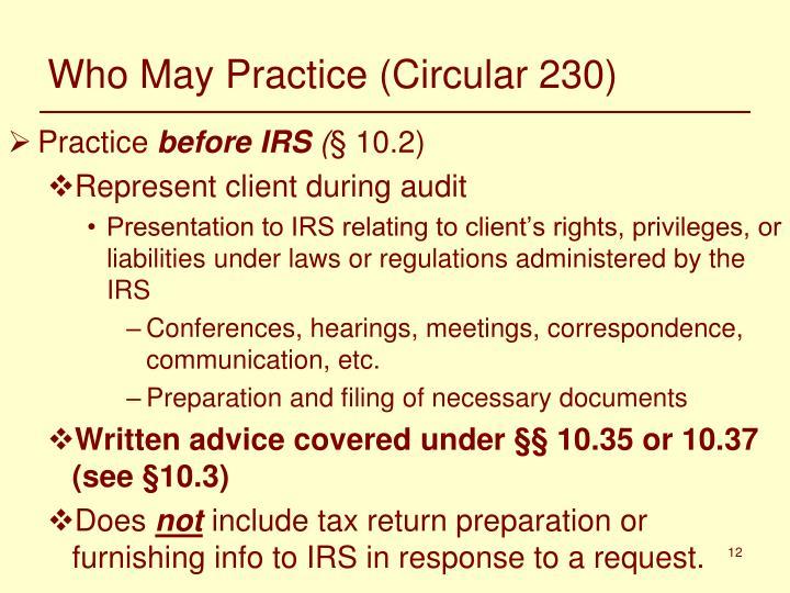 Who May Practice (Circular 230)