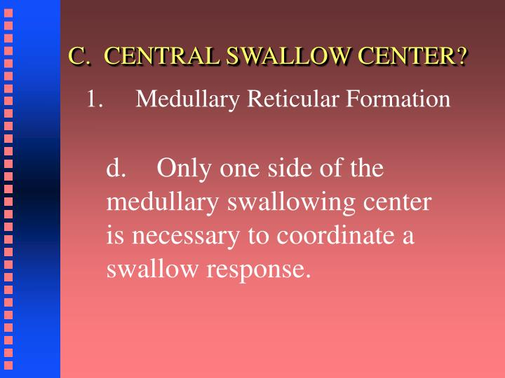 C.  CENTRAL SWALLOW CENTER?