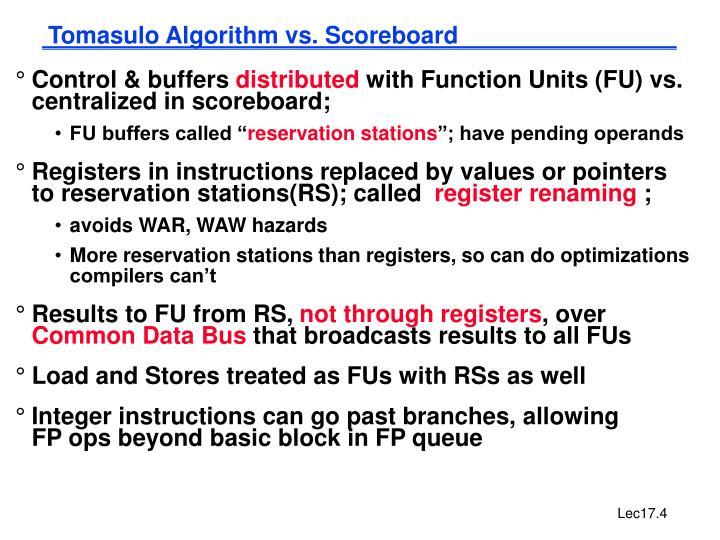 Tomasulo Algorithm vs. Scoreboard
