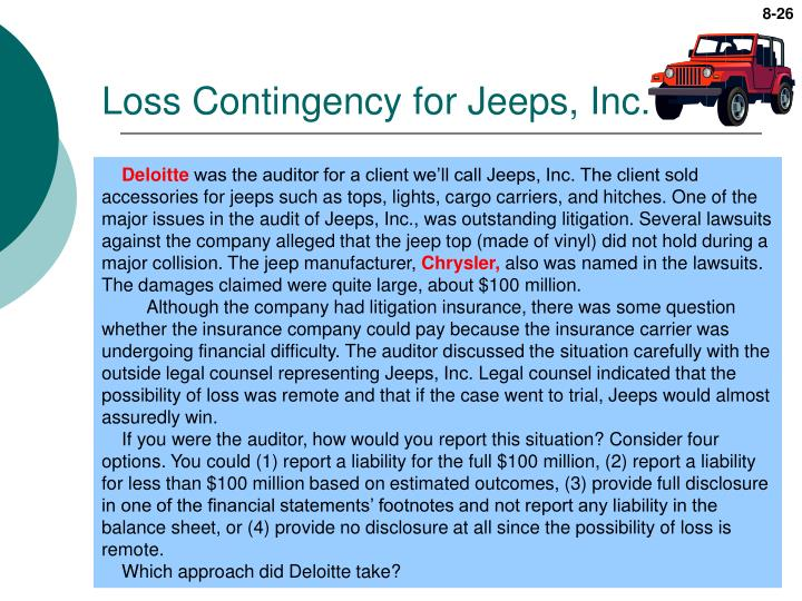 Loss Contingency for Jeeps, Inc.