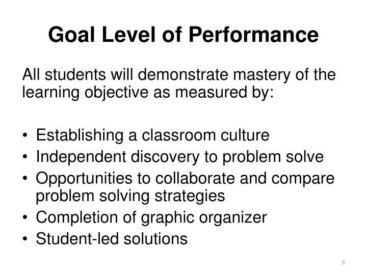 Goal Level of Performance