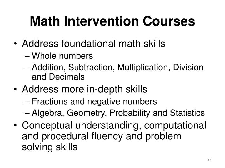 Math Intervention Courses