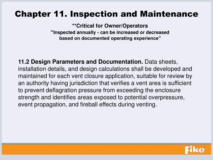Chapter 11. Inspection and Maintenance