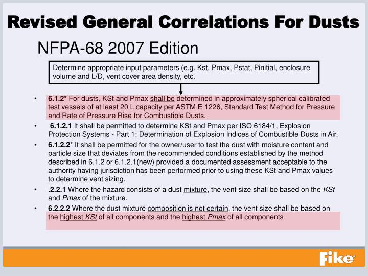 Revised General Correlations For Dusts