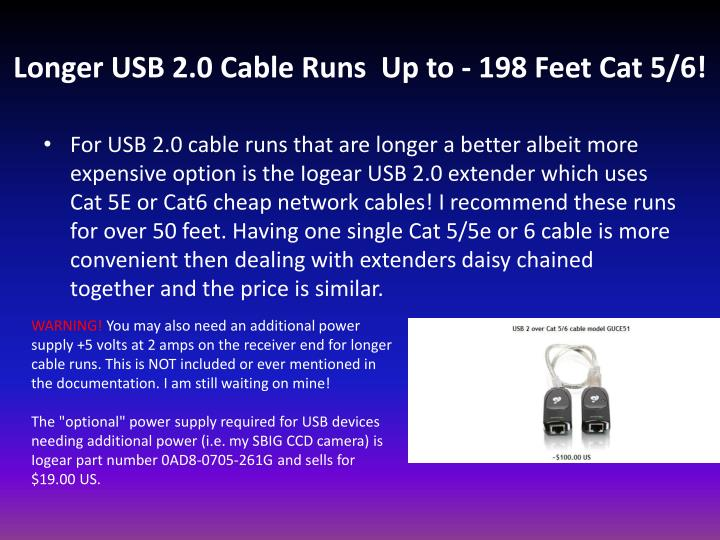 Longer USB 2.0 Cable Runs Up to - 198 Feet Cat 5/6!
