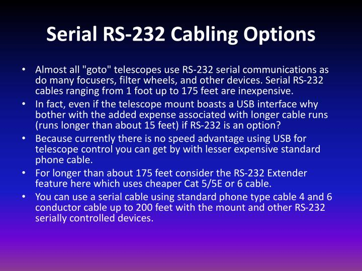 Serial RS-232 Cabling Options
