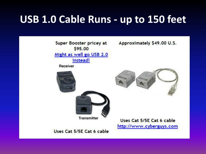 USB 1.0 Cable Runs - up to 150 feet