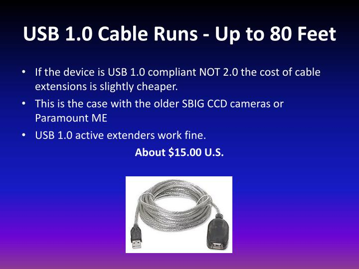 USB 1.0 Cable Runs - Up to 80 Feet