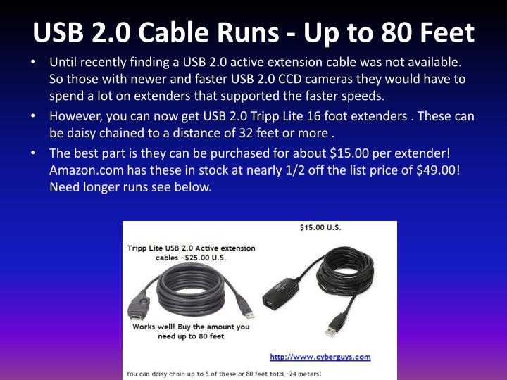 USB 2.0 Cable Runs - Up to 80 Feet