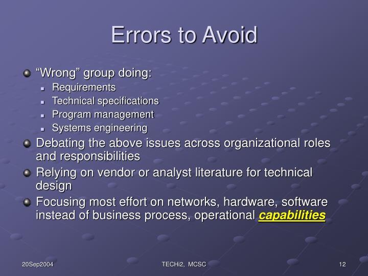 Errors to Avoid