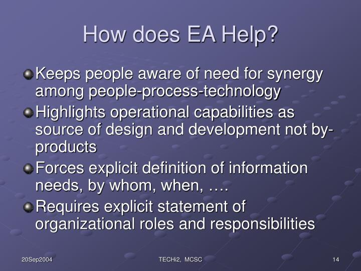 How does EA Help?