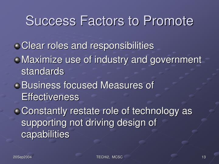 Success Factors to Promote