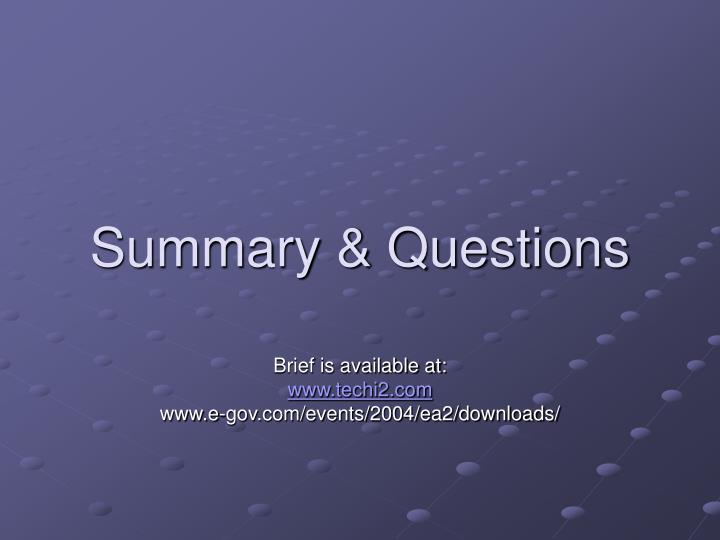 Summary & Questions