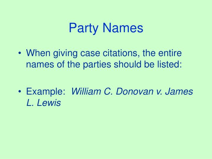 Party Names