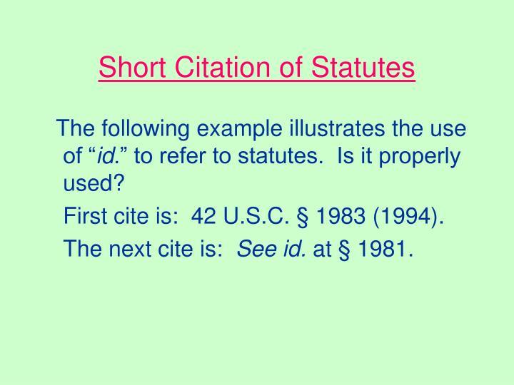 Short Citation of Statutes