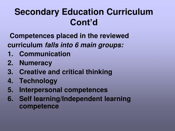 Secondary Education Curriculum