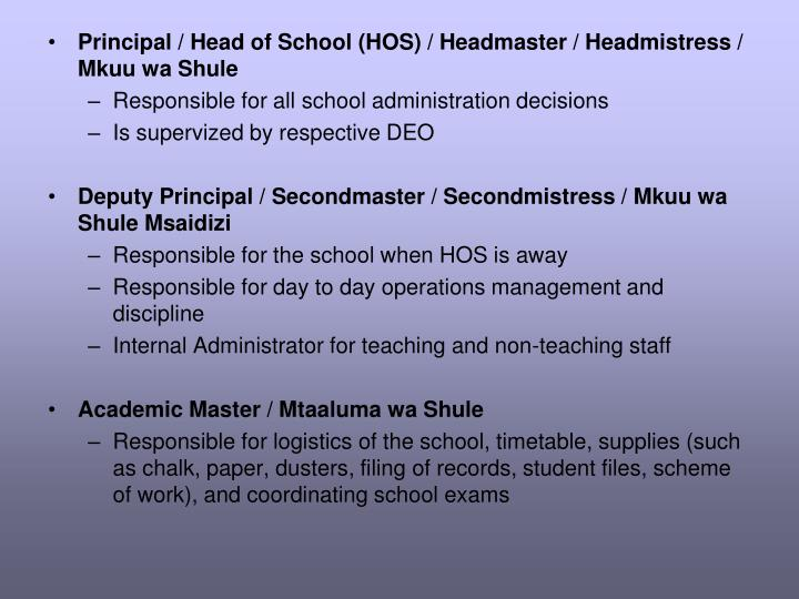 Principal / Head of School (HOS) / Headmaster / Headmistress / Mkuu wa Shule